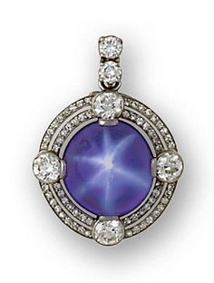 An art deco star sapphire and diamond pendant/brooch, circa 1930 centering a round cabochon star sapphire within a double-row surround of by Miriam Mena Bijoux Art Deco, Art Deco Jewelry, Jewelry Design, Designer Jewelry, Gems Jewelry, Jewelry Accessories, Fine Jewelry, Jewelry Necklaces, Art Nouveau