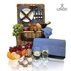 Handmade Picnic Hamper Set Blue Stripe Pattern Lining Picnic Tote Wine Gifts Picnic Basket for 4 Ceramic Plates Complete Kit Includes Metal Flatware Wine Glasses S//P Shakers and Bottle Opener