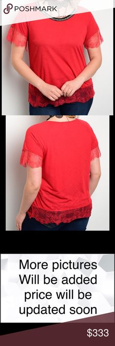 Short Sleeve Red Top Lace Detail Plus Size Short sleeve red top. Lace detail, designed decorative rounded neckline. 60% Rayon 40% Polyester. 1X 14/16, 2X 18/20, 3X 22/24 Tops