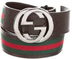 Gucci Web-Trimmed Interlocking GG Belt - Men's brown leather Gucci Web belt with silver-tone interlocked GG belt and peg-in-hole closure. Designer size 42/105. Made in Italy.