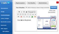 i-talk24 Hier hinterlegen Sie den Werbetext auf der rechten Seite des Kontroll-Centers. Details: http://www.i-talk24.com