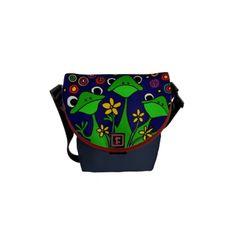 Funny Frogs Folk Art Mini Messenger bag #frogs #folkart #funny #messengerbag #art #zazzle #gifts #animals #petspower
