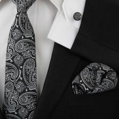 Men's Slim Black and White Floral Paisley Flowery Tie - The Director Line