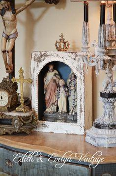 Antique Religious Shrine Plaster Statue Joseph by edithandevelyn on Etsy