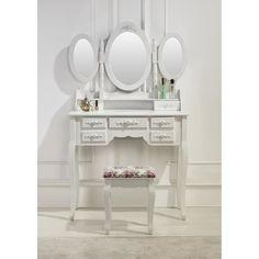 Coiffeuse blanche avec siège et 3 miroirs - Achat / Vente COIFFEUSE Coiffeuse blanche avec sièg - Cdiscount