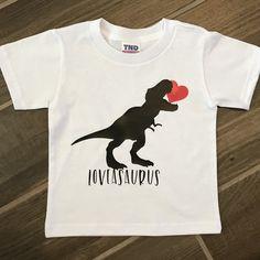 LOVEASAURUS Valentine's T-Shirt Valentines For Boys, Valentines Day Shirts, Valentine Day Crafts, Cricut Craft Room, Vinyl Shirts, Custom T, Cute Shirts, Shirt Ideas, Hadley