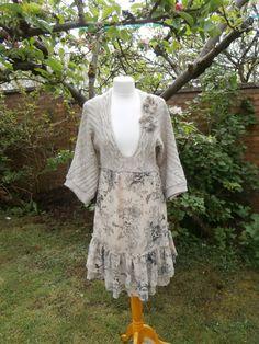 Upcycled Sweater Dress 'Barley Sugar' UK size 8-10/US size 4-6