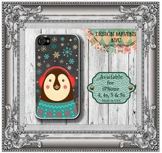 Penguin iPhone Case, Chalkboard iPhone Case, Fits iPhone 4, iPhone 4s, iPhone 5, iPhone 5s, Phone Cover, Phone Case