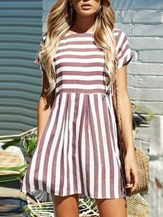 Short Striped Casual Beach Dress Material: Cotton,Spandex Season: Summer Style: Casual Decoration: None Silhouette: Loose Sleeve Length(cm): Full Pattern Type: Striped Sleeve Style: Regular Waistline: [.