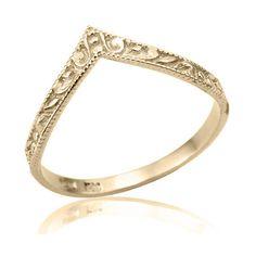 Rose Gold Wedding Ring, V Shaped Art Deco 14K Gold Wedding Band,... (255 AUD) ❤…