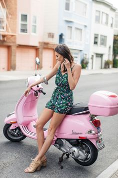 Palm tree romper and pink vespa Vespa Girl, Scooter Girl, Pink Vespa, Poses, Chicks On Bikes, Motor Scooters, Vespa Scooters, Nordstrom Anniversary Sale, Biker Girl