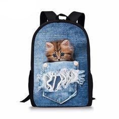 Children School Bags Cute Denim Cat Dog Schoolbags