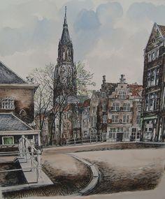 Ingekleurde litho van Delft, Bob  Brobbel, geb. Vlaardingen: 1907 - gest. Amsterdam: 1971