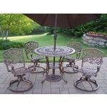 $1749.15 Oakland Living - Mississippi 5 Piece Swivel Dining Set with Umbrella - 2011-2104-4005-BN-4101-7-AB