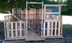 Building a Wood Shed from recycled wooden pallets  Another chicken coop.