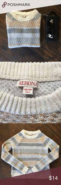 Stripe Sweater Super cute! XS Merona brand stripe sweater. Cute cut detail at hem. Gray brown and cream. Used but still great condition! Merona Sweaters Crew & Scoop Necks