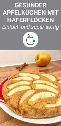 Ein schneller Apfelkuchen, der gesund, saftig und einfach ist. Hier findest du das gesunde und kalorienarme Rezept mit Haferflocken. #gesund #rezept #abnehmen #rezepte Pancake Dessert, Low Carb Desserts, Cookie Desserts, Chia Pudding, Eat Smart, Healthy Sweets, Healthy Food, Baking Recipes, Vegan Recipes