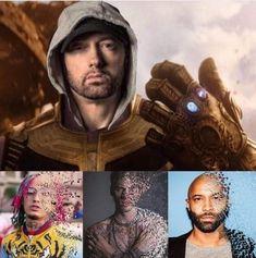 Eminem dropped kamikaze and pulled a thanos Eminem Funny, Eminem Memes, Eminem Rap, Eminem Quotes, Rap Quotes, Top Memes, Best Memes, Funny Memes, Jokes