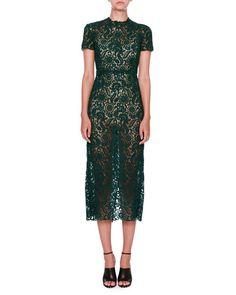 Short-Sleeve Lace Midi Dress, Green