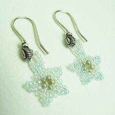 Reduced SALE Beadwork Snowflake Earrings  SRAJD by BohemianIce on Etsy