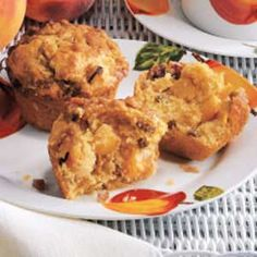 Peach Praline Muffins Recipe -We eat a lot of muffins around our house. The kids love to nibble on them around the clock. This is a favorite. —Paula Wiersma, Eastampton, New Jersey
