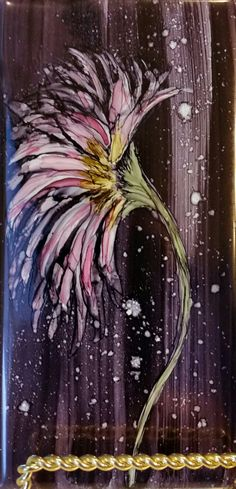 Flower in alcohol ink on 3x6 tile by Tina