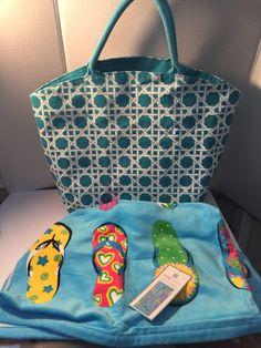 Women Ladies Canvas Beach Swim Bag Tote Huge Turquoise Flip Flop Beach Towel #PeriHome