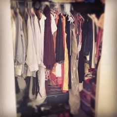 February 12: Inside our closet, space is at a premium, and so we split it 50/50. It's not ready for Real Simple, but we like it. #FebPhotoADay