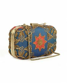 $109 Teal Blue Clutch with Metallic Embroidery - Bags - Accessories