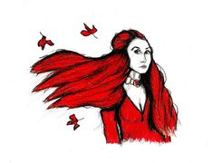 THE RED WOMAN - Melisandre - Game Of Thrones Print - Carice Van Houten, Dark Fairytale Art, Witch, Christmas Gift, Tattoo Art, Magic, Sexy