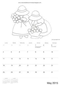 Calendario 2015 para colorear-niños de Manualidadesconmishijas Mayo - May calendar