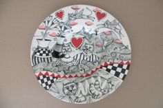 """""""Cats in Love """" Mercurial Cats . Hand-painted plate by Tiffany Wallace Ceramics SA 2015"""