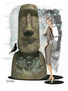 Soft and Easy Tiki Modern Retro Moai by EdwinWade on Etsy Tiki Art, Tiki Tiki, Tiki Totem, Tiki Decor, Tiki Lounge, Vintage Tiki, Retro Halloween, Silhouette Portrait, Retro Pattern