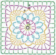 Cuadrado fácil de tejer a crochet (granny square)! very pretty - made up in plain white yarn flower inside square