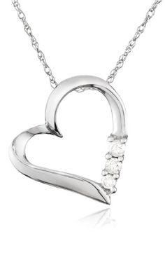 "10k Gold and Diamond Three-Stone Heart Pendant Necklace (0.1 cttw, I-J Color, I2-I3 Clarity), 18"""