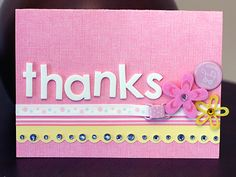 Handmade Thanks card. This pastel card could also be a handmade birthday card, get well soon card, or baby card.