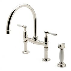 Easton Classic Two Hole Bridge Gooseneck Kitchen Faucet, White Porcelain Lever Handles and Spray — Products   Waterworks