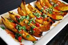 Spicy Roasted Acorn Squash Wedges – 2 Points - LaaLoosh http://www.laaloosh.com/2012/12/04/spicy-roasted-acorn-squash-wedges/
