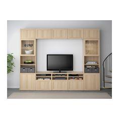 БЕСТО Шкаф для ТВ, комбин/стеклян дверцы - Ханвикен/Синдвик под беленый дуб, прозрачное стелко, направляющие ящика, плавно закр - IKEA