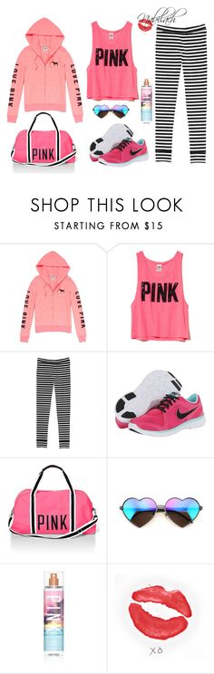 PINK by nabilach on Polyvore featuring Victoria's Secret PINK, NIKE, Wildfox, Victoria's Secret and xO Design