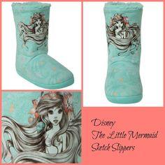 DISNEY Princess Ariel Little Mermaid 'Sketch' Slipper Boots-ADULT Size 11/12 NEW