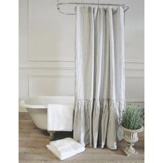 Vintage Ruffle Shower Curtain RusticInteriorIdeas Hang Curtains Linen
