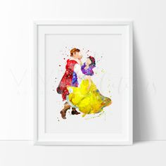 Snow White Princess and Prince Nursery Art Print Wall Decor. Our designs make an attractive, modern contemporary wall piece for your baby nursery, home, office or even as a gift.