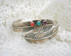Navajo Sterling Feather Cuff Bracelet, Hand-crafted by Joe Delgarito, Turquoise, Amethyst, Red Coral Bezel-set Stones