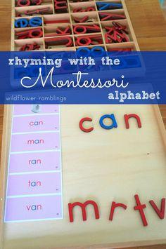 creating rhyming words with the montessori alphabet - Wildflower Ramblings