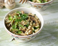 Quinoa with Mushrooms and Brussel Sprouts. A healthy, vegetarian and dairy free recipe by greek chef Akis.