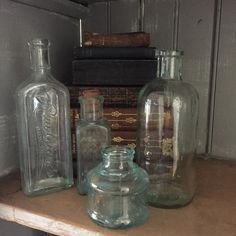 4 vintage blue glass bottles / Sanford Inks   / Frank Millers Crown dressing  / Rawleighs / plain bo