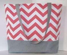 the Tote . Chevron beach bag . Coral white gray . standard size NEW TEACHER BAG!:)