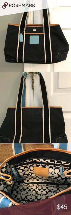 Coach Reversible Tote Good Pre-lo❤️ed condition. Cream, black and baby blue reversible Coach Tote. It is used and there are minimal signs of wear. Mainly applies to the handles that have signs of dirt from being handled. Can probably be cleaned up. Lots of life left! Good condition. Coach Bags Totes