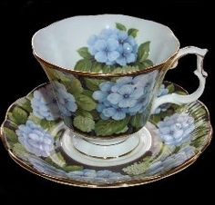 RP: Royal Albert Black Chintz Hydrangea - Bouquet Series Cup and Saucer